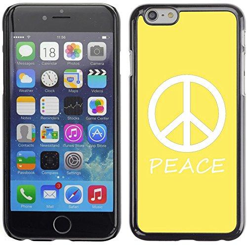 Graphic4You Peace Sign Friedenszeichen Design Harte Hülle Case Tasche Schutzhülle für Apple iPhone 6 Plus / 6S Plus (Aqua Blau) Gelb