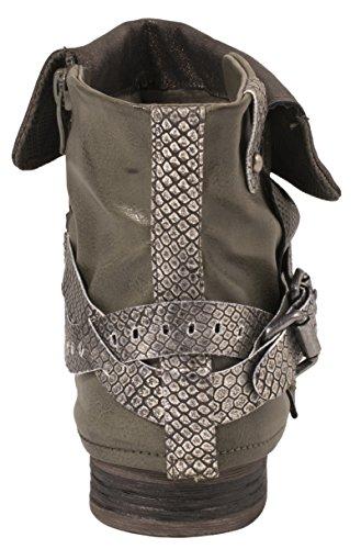 Bottes Motardes Elara Pour Femmes | Boucles D'impressions Métalliques | Bottines À Rivets En Cuir Synthétique Doublé Grün Sydney