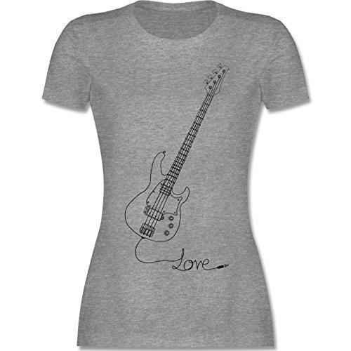 Rock'n'Roll - Love - Gitarre - L - Grau meliert - L191 - Damen Tshirt und Frauen T-Shirt