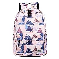 Joymoze Unisex Waterproof Fashion Printed Backpack Cute School Book Bag for Boys and Girls Pink Triangle 830