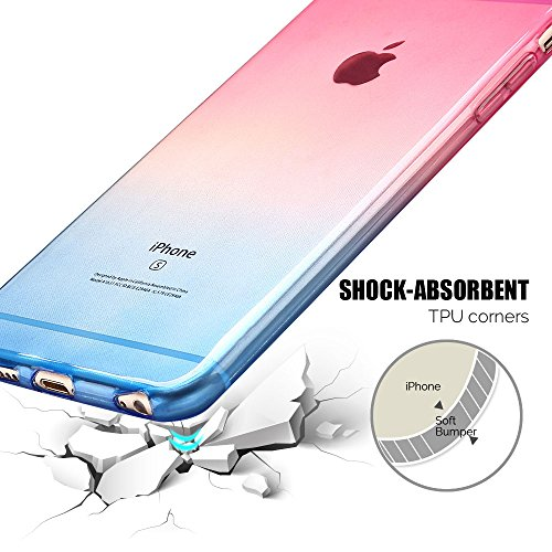 Coque iPhone 6 / 6S (4.7 pouce) , TPU Transparente Case Gradient de couleur Slim Souple Étui de Protection Flexible Soft Silicone Cover Anti Choc Ultra Mince Couverture Bumper Caoutchouc Gel Anfire Ho Rouge et Bleu