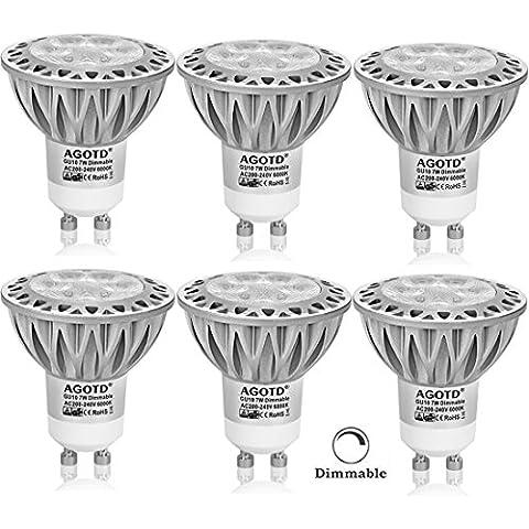 AGOTD Bombillas LED GU10 MR16 7W, Regulable luces led,Equivalente a 50Watt Halogenos Lámpara Incandescente, Blanco Frío 6000K, 560lm, Casquillo GU10,Iluminación LED 230V 38 °ángulo de haz, SMD Lamp,Spot luz, Paquete de 6