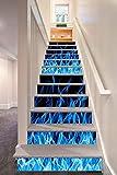 12 Stücke Treppen Aufkleber, Kreative 3D Blau Feuer Muster selbstklebende Stairway Decals Abnehmbare DIY Treppenstufen Decor Papier 100x18 cm