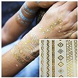 LZC 15x20cm nuovo braccialetto gioielli tatuaggio temporanei impermeabile Totem metallo / collana / luci dell'anello di Disco Party Masquerade Party Rentals Etc regalo di Natale Oro Oro Argento Tatuaggi Tatuaggi Premium Luxury Set Series