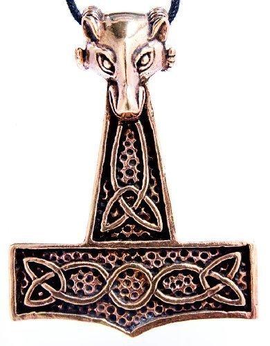 Bronze Anhänger Widder (XXL Thorshammer Anhänger mit Widderkopf aus Bronze mit Baumwollband)