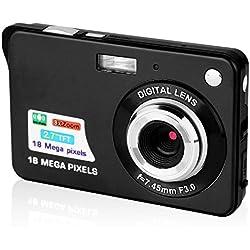 GordVE, écran LCD TFT HD de 2.7 Pouces(6,6cm), stabilisation Anti-tremblement, détection de Sourire, retardateur, Zoom numérique 8X, Appareil Photo numérique Compact (Noire)