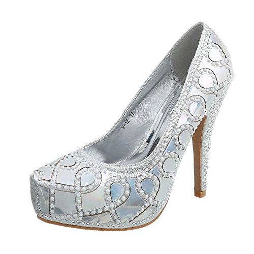Ital-Design High Heel Pumps Damen-Schuhe Pfennig-/Stilettoabsatz Heels Silber, Gr 39, V-12-