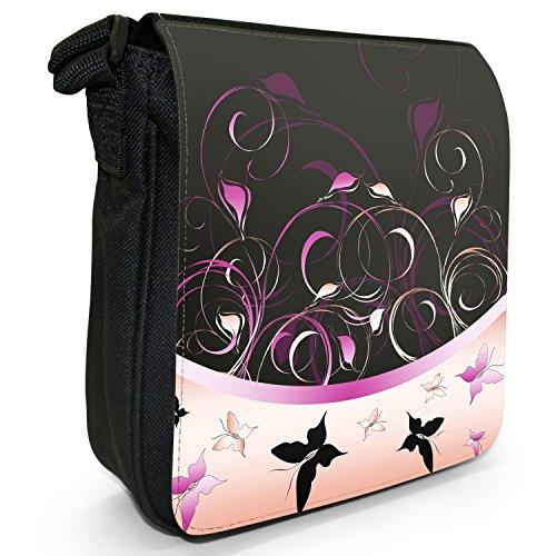 Elegante farfalla Vortici piccolo nero Tela Borsa a tracolla, taglia S rosa