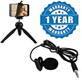 Drumstone Microphone Mini Hands Free Clip On Lapel Mic for Cameras Recorders, Pcs with Multipurpose 228 Transforming Mini Tripod Stand Compatible with All Smartphones (One Year Warranty)