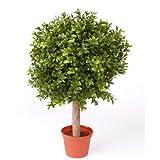 Künstliche Buchskugel TOM auf Stamm, 252 Blätter, 35cm, Ø 25cm - künstliche Buchsbaumkugel Buxkugel Buchsbaum