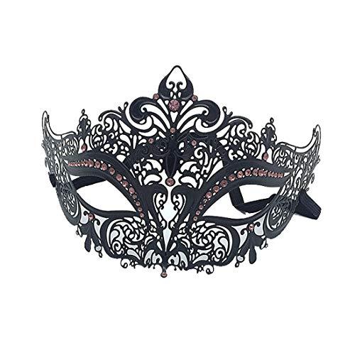 VJUKUBCUTE Sexy Women Es Black Vintage Masquerade Ausgefallene Kleid Masken Glänzende Strasssteine Venezianischen Eyemask-Halloween Mardi Gras Party Maske Halloween Women Cosplay Fashion,Purple+Red
