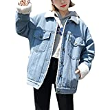 ZhuiKun Damen Warm Jeansjacken Boyfriend Wintermantel Denim Winterjacke Hellblau S