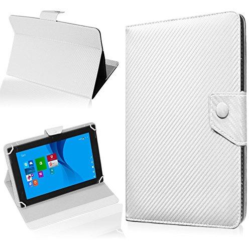 NAUC Tablet Hülle für TrekStor SurfTab Twin 10.1 Tasche Schutzhülle Cover Case Carbon, Farben:Weiss