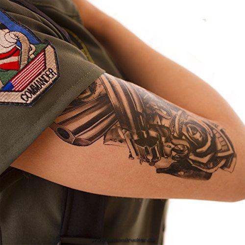 1 x Guns Roses Dollar Tattoo in schwarz - Fake temporäres einmal Körpertattoo A1218 (1) - Sexy Gangster Halloween