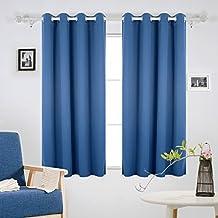 Deconovo Opaca Cortina Térmica Aislante y Ruido Reducción con Ojales para Dormitorio 1 Par 140x175 CM Azul