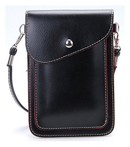 TIBES Mini PU Leder Kreuz-Körper Tasche Handy Geldbörse kleine Brieftasche Tasche, S, A Schwarz -