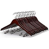 LOHAS Home Perchas para trajes y pantalones de madera con acabado de nogal, con clips y antideslizantes, 10 unidades