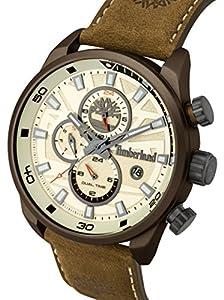 Timberland Henniker II-Reloj de hombre de cuarzo beige con esfera analógica pantalla y correa de cuero marrón oscuro 14816jlbn/07 de Timberland