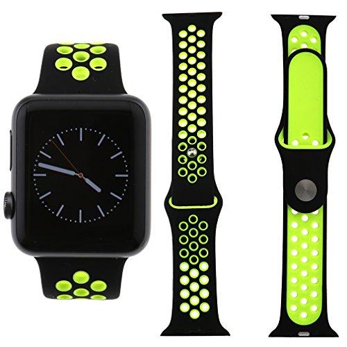 Preisvergleich Produktbild Für Apple Watch iWatch 38mm Sport Silikon Ersatz Band Armband schwarz+Gelb