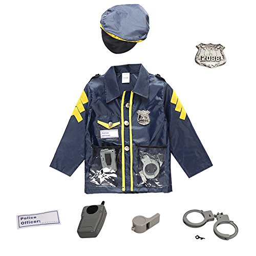 üm Cop Detektiv Police Fancy Cosplay Weste Justice Mantel Kleidung Apparel Party Kostüme Rolle spielen Funny Uniform Set mit Halsband Hat beige 's Langlebig Fall Officer für Kinder (Sexy Boy Halloween Kostüme)