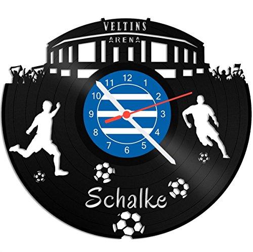 GRAVURZEILE Schallplattenuhr Schalke - 100% Vereinsliebe - Upcycling Design Wanduhr aus Vinyl Made in Germany