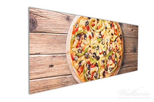 Olive Spritz (Wallario Küchenrückwand aus Glas, in Premium Qualität, Motiv: Italienische Pizza mit Peperoni, Oliven. Paprika und Käse | Spritzschutz | abwischbar | pflegeleicht)