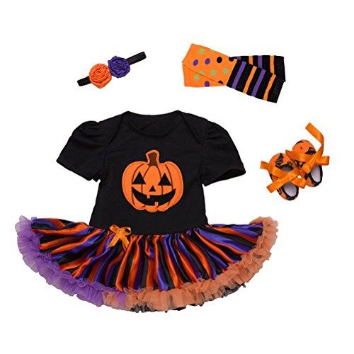 Zhuhaitf Halloween Kürbis Kostüm Baby Mädchen Rüschenbesatz Tutu Strampler + Beinwärmer + Schuhe + Haarband Party Anzug