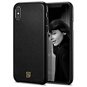 Spigen iPhone XS Max Case Leather [LA MANON Câlin] with Minimal Design and Easy Grip of Leather For iPhone XS Max (2018) - Chic Black