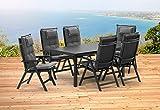 Kettler BASEL 1 Tisch 160x95 cm und 6 Klappsessel und 6 Auflagen Gartenmöbel in anthrazit
