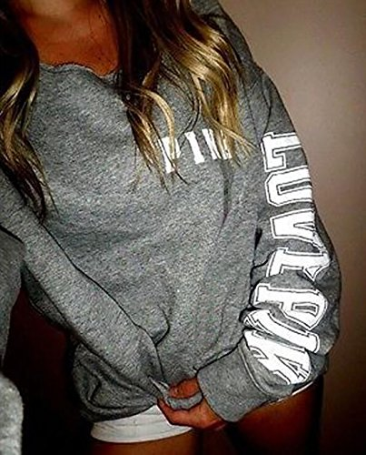 Yidarton Sweat à Capuche Femme Sweat-shirt Manche Longue Pull-over Automne Hiver Casual Blouse Mode Top Pull Hoodie A-Gris
