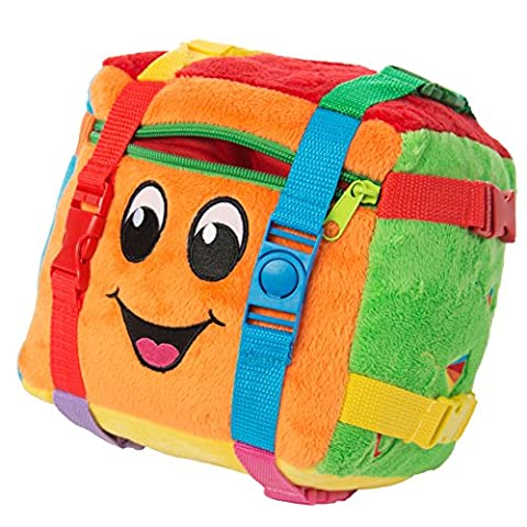BUCKLE TOY Bingo Activity Cube - Toddler Early Learning Basic Life Skills Children's Travel Plush by Buckle Toys