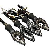 Toogoo - Indicadores de dirección para moto, 4 piezas, 12ledes SMD, universales, color carbón