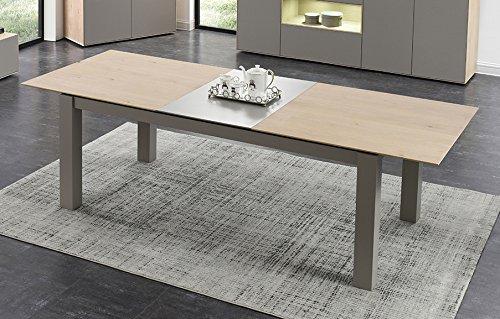 Grande table repas TAUPE et décor chêne extensible 260 cm - 8/10personnes - Qualité Excellence - design contemporain - OMEGA