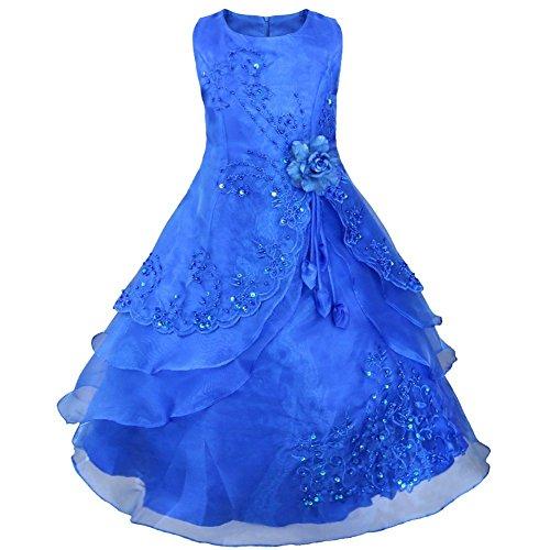 Tiaobug Kinder Mädchen Kleider Festlich 104 110 116 128 140 152 164 Blumenmädchen Kleidung (140-152, Dunkel Blau, Herstellergr. 12 Jahre) (Blumenmädchen Kleid Blau)