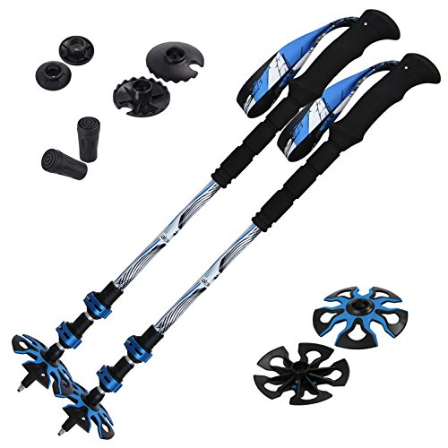 ALPIDEX Tourenstock Trekkingstöcke Teleskopstöcke Wanderstöcke Aluminium verstellbar 63-135 cm verlängerte Griffe, Farbe:Black-Blue-White