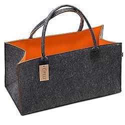 G'FELT Filztasche Premium - als hochwertige Einkaufstasche, schicke Freizeit-Tasche oder Badetasche, Zeitungskorb, Filzkorb, Einkaufskorb, stabile Kaminholztasche - zweifarbig grau und orange