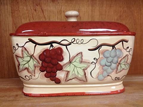 Tuscany Sonoma Grape Hand Painted Collection, Ceramic Bread Box 12 3/8