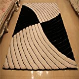 QAZ Mode 3D Stereo Seidenteppich Schlafzimmer Wohnzimmer Couchtisch Volle Shop Großer Teppich (Farbe: Schwarz/Weiß, Größe: 1,2 * 1,7 m)