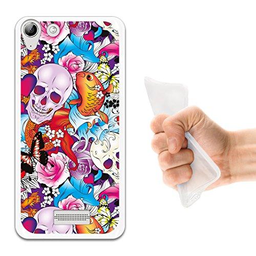 WoowCase Wiko Selfy 4G Hülle, Handyhülle Silikon für [ Wiko Selfy 4G ] Schädel Blumen und Schmetterlinge Handytasche Handy Cover Case Schutzhülle Flexible TPU - Transparent
