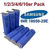 Samsung INR18650–29E Batterie avec 2900mAh 3.7V avec U-lötfahne lötfaden. Idéal pour vélo électrique, cigarette électronique, RC Modélisme Piles et Power Tool. Lot de 10