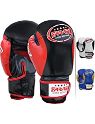 Farabi Kids Boxing gloves best for kickboxing, Martial Arts, MMA, Muay Thai, Fitness and Gym training and punching. (Black/red, 8Oz)