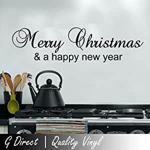 Merry Christmas and a Happy New Year Wall Sticker Vinyl Decal 60x10 (black)