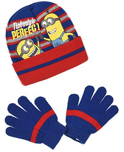 Bonnet et gants rayés enfant garçon Les Minions 3 coloris, de 3 à 9 ans Bleu/rouge