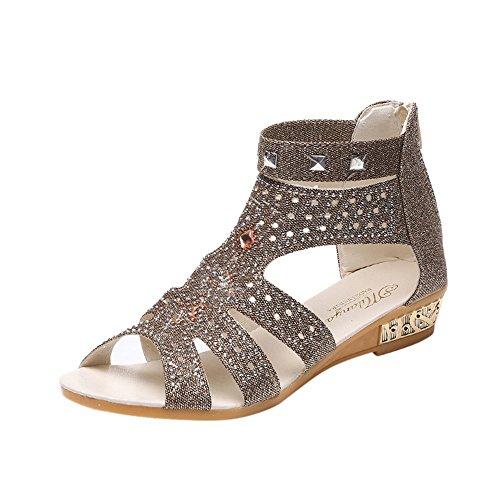VJGOAL Damen Sandalen, Damen Schöne Dekoration Frühling Sommer Keil Mode Fisch Mund Hohl Roma Reißverschluss Schuhe (35 EU, Gold)