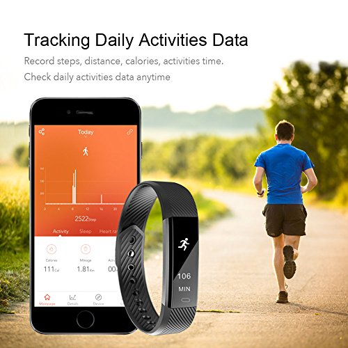 Fitness Tracker, LETSCOM Fitness Tracker Watch with Heart Rate Monitor,Slim Touch Screen and Wristbands, Wearable Waterproof Activity Tracker Pedometer Black for Android and iOS