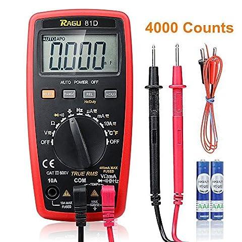 Multimètre numérique RAGU 81D à calibrage automatique, Instrument de mesure électronique, Outil de mesure tension/intensité courant continu/alternatif, température, diode, continuité, affichage