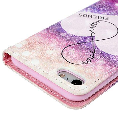 YOKIRIN iPhone 7 Coque de Protection - Phone Case TPU & PU Couverture Portefeuille Carte Fonction Stand avec Fermeture Magnétique Dessin Coloré - Cordiforme
