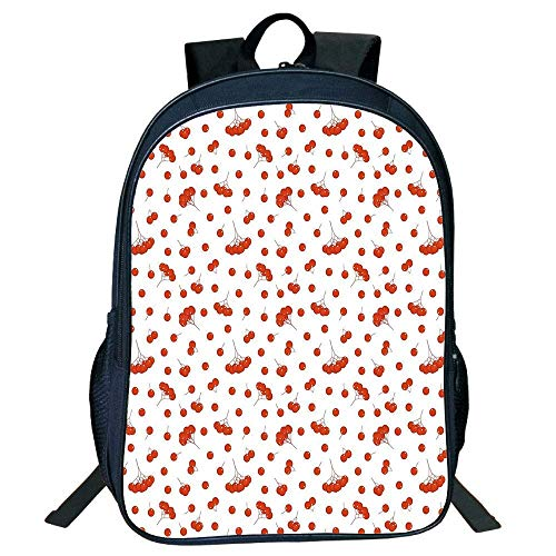 HOJJP Schultasche Stylish Unisex School Students Black Rowan,Tile Pattern Juicy Ashberries in Graphic Style Vivid Fall Foliage Display,Scarlet White Kids, Scarlet Ort