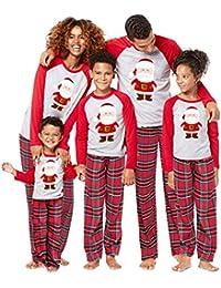 Vawal 2Pcs Family Matching Christmas Santa Claus Outfits Long Sleeve T-Shirt Romper+Plaid Long Pants Pajamas