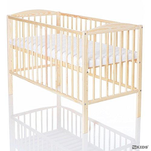 LCP Kids Kinderbett 120x60 cm Gitterbett Beige | 3 Schlupfsprossen | Matratze 6 cm Höhe & 3-fach höhenverstellbar